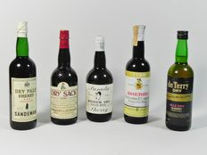 Sherry 1980s - NV Sandeman, Dry Pale & NV Williams&Humbert, Dry Sack & NV De Terry, Pale Dry & NV Felix Ruiz / Pasada, Medium Dry & NV Fernando T. Carrera, Fino- 5 bottles