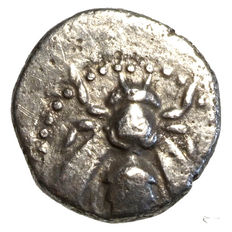 Ancient Greece - Ionia - Ephesos (390 to 330) AR Obol, bee, deer protome