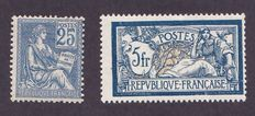 France 1900 - Type mouchon and merson (mouchon signed diena) - Yvert #114 & #123