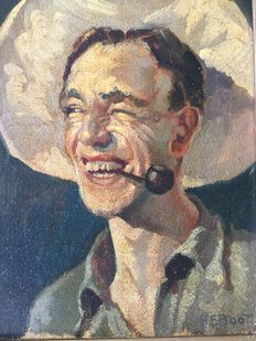 Henri Frédéric Boot (1877 - 1963)) - Man smiling with pipe and hat