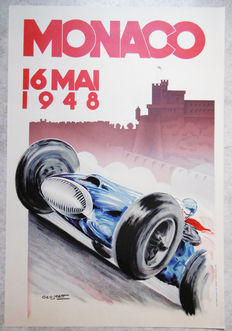 Large serigraphy of the Grand Prix of Monaco -Geo Matt - 1948