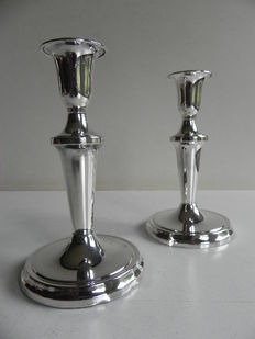 Two silver candle holders - hallmarked