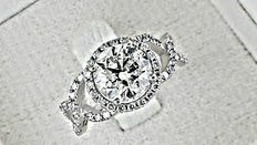 3.02 Ct round diamond ring made of 14 kt white gold - size 7