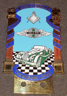 Morgan car badge - Worcestershire The Morgan Lodge - late 20th century