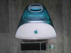"Apple iMac G3 - Bondi Blue - model M4984, from 1998 - 233 Mhz G3, 96MB RAM, 4GB HDD, 15"", CD drive, MacOS 9 - with original keyboard & mouse"