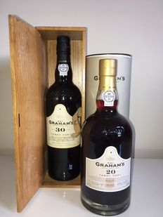 30 & 20 years old Tawny Port Graham's  - bottled in 2012 - 2 bottles (0.75L) in original packaging