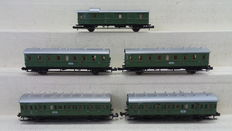 Minitrix N - 3360/52375900/52375800 - 5 passenger carriages 3rd/2nd class and baggage-/postal carriage of the DR