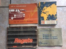 4 use and maintenance booklets, old cars and Vespa 50 ""