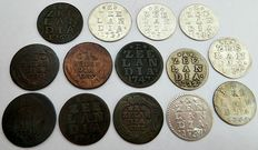 Zeeland - Duit 1747/1791 + double coat of arms nickel 1731/1765 (14 coins in total), including 7 x silver