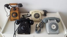 Four phones with dial, 2nd half of the 20th century. From the Netherlands, France and the Czech Republic.