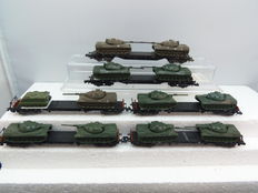 Zelfbouw N - 6 flat cars, each with 2 Leopard tanks