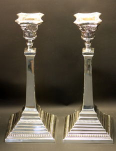 Pair of Solid Sterling Silver Candlesticks, Birmingham 1938, Britton Gould & Co