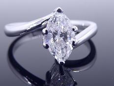 White gold ring with marquise cut diamond, 0.75 ct – size 53 / 16.78 mm ***No minimum price***
