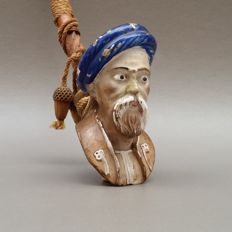 Very large enameled figural clay pipe head - Man with turban. Unmarked - France, ca. 1880