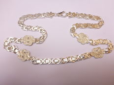 Flat Byzantine link necklace with carpet beaters, 925 silver – 67 cm –  No reserve