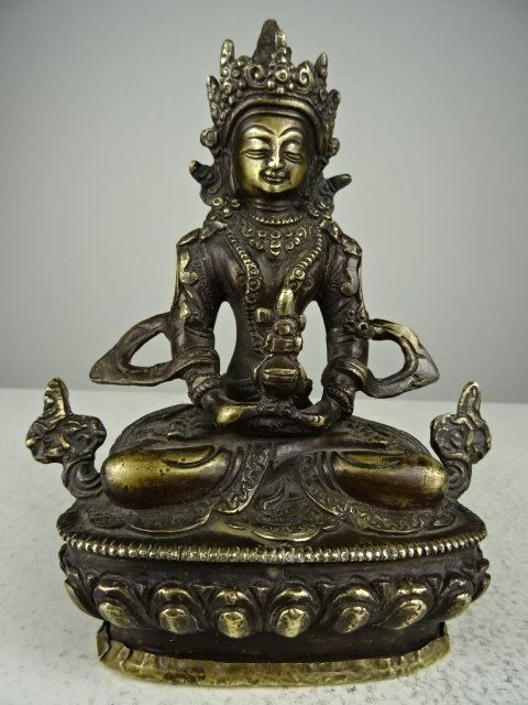 Bronze statue of Amitayus Buddha - Nepal/Tibert - latter half of the 20th century