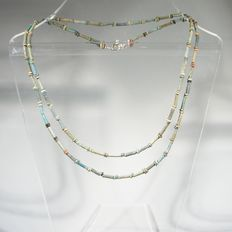 Egyptian necklace of green/blue faience beads. L.  87  cm