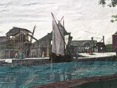 2 Optical Prints Unknown artists (18th century) - Russian Army takes over the city of Colbert & View at Dutch bridge with Sailboat - 18th century