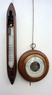Walnut Baroscope Crystal barometer in old weaving coil and barometer - second half 20th century