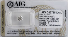 0.70  ct Brilliant cut  Diamond  G  SI3