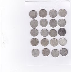 The Netherlands – 25 cents 1848/1926 Willem II and Wilhelmina (20 different ones) – silver
