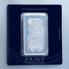 Pamp Suisse Fortuna 100 grams 999 silver bar in blister packaging with serial number