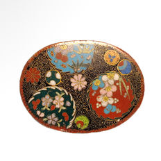 Oval Brass Enamel Cloisonné Box and Cover - Japan - late 19th Century