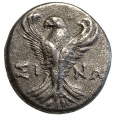 Ancient Greece – Paphlagonia – Sinope (~300 BC) AR Hemidrachme, nymph, frontal eagle