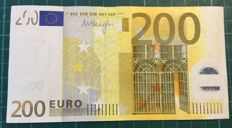 Euro - 200 Euro series I type Draghi - with incomplete hologram
