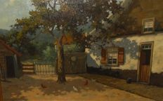 G.A. Reijnders (20th century) Farm with chickens