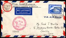 "German Reich - 1930 - ""airship Graf Zeppelin 1st South America journey LZ 127 with 2 RM zeppelin"" on a circulated letter to Sevilla, Michel 438x"