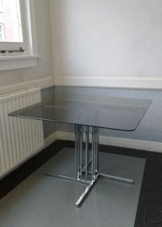 Manufacturer unknown – square chromed table with smoked glass
