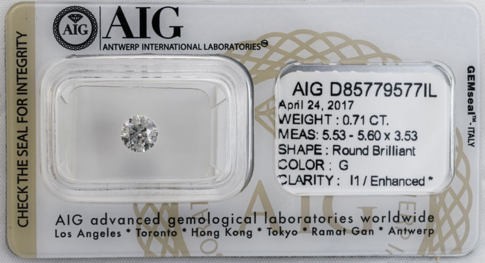 0.71  ct Brilliant cut  Diamond  G  I1