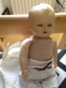 Doll from the 1900s marked FRANCE on the neck + doll wardrobe from the 1960s + a chimney sweep doll from circa 1950