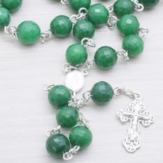 Rosary made of Faceted Emerald beads with Sterling silver 925.