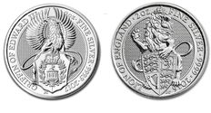 Great Britain - 2 x 5 pound - The Queens Beasts - Lion 2016 + The Griffin 2017 - 2x2 oz 999 silver coin