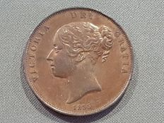 United Kingdom – Penny coin, year 1855, Queen Victoria.