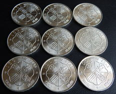 Spain – FNMT (Royal Mint of Spain) – 9 silver coins of 100 pesetas, year 1966 *19-67.
