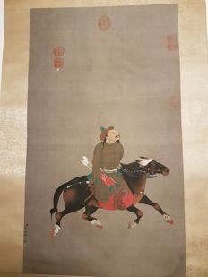 A Hand-painted scroll painting 《金廷标- 乾隆皇帝狩猎图》- China - late 20th century