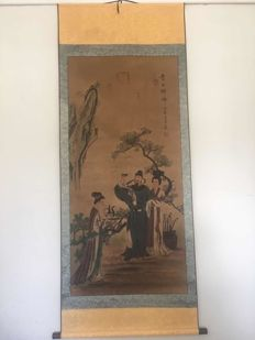 A print reproduction scroll of old painting - China - late 20th century