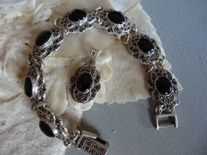 Silver bracelet and pendant with onyx/marcasite.