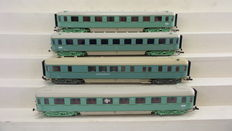"""Roco H0 - 44282/44283/44288/44286 - 4 High speed train Passenger carriages-/Dining carriage 1st/2nd/3rd Class """"Plan-D Bolkoppen"""" partly with interior lighting and rear lights of the NS, in turquoise livery"""