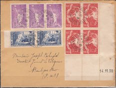 France 1935/36 – Lot of three letters and 1 header with date on the corner.