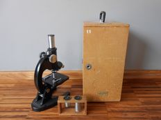 Olympus microscope in wooden case