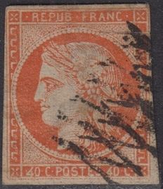 """France 1850 - Ceres IMP 40 centimes, variety """"4 retouched, position146"""", Yvert No. 5d - With numbered CALVES certificate."""