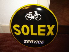 Beautifully nicely curved enamel Solex service sign from the 21st century.