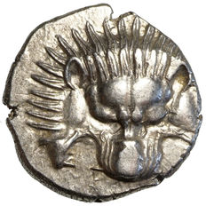 Antique Greece – Lycia – Perikles (390-375 BC) AR 1/3 Stater, Lion's scalp, Triskelion