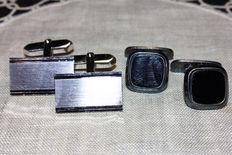2 pairs of silver cuff links from the 1950s