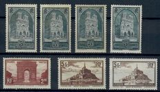 France 1929/1931 – Series of buildings, Yvert 258, 259I/IV, 260I/II, 261I/III and 262 and 262A.