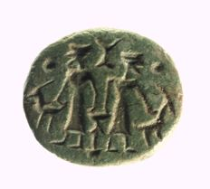 Stamp seal, two priests with two ibexes/ goats and sacrificial altar Green rock 27.8mm